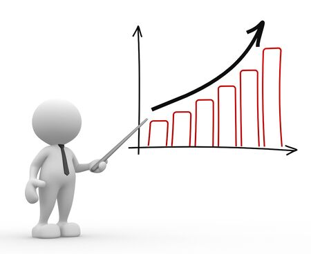 3d people - man, person pointing a graph chart photo