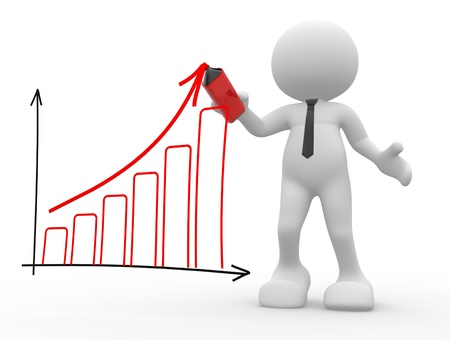 3d people - man, person with a marker and graph chart Stock Photo - 17132387