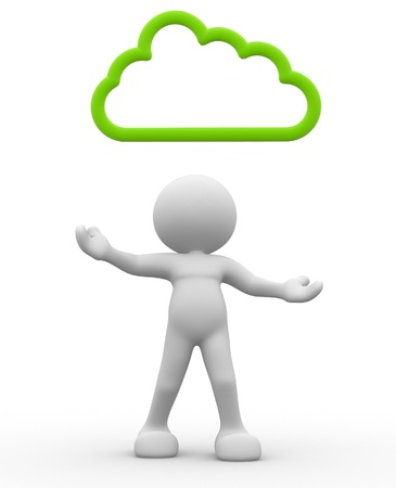 3d people - man, person with cloud over the head Stock Photo - 17132347