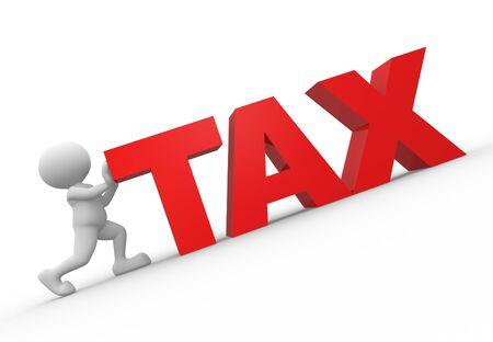 impuestos: 3d gente - hombre, gente empuja para arriba fiscal palabra Foto de archivo
