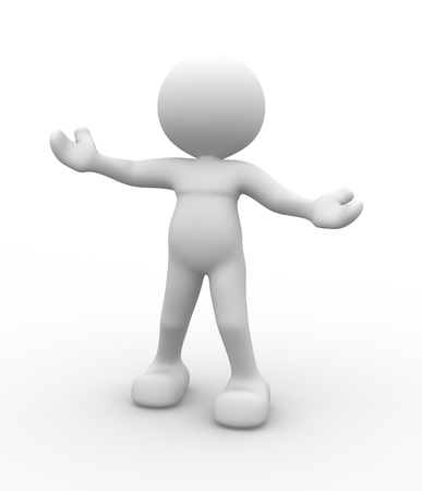 human figures: 3d people - man, people - welcome gesture Stock Photo