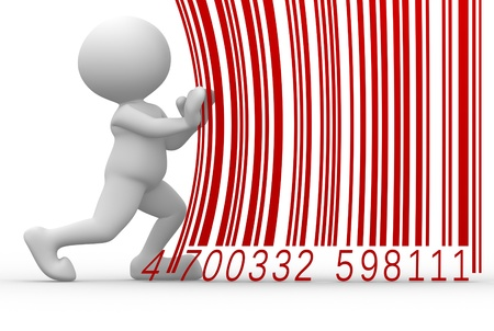 inventories: 3d people - man, person with a barcode Stock Photo