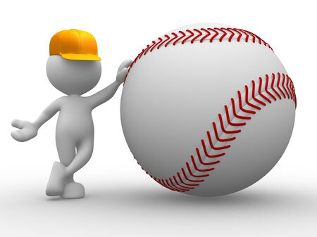 ballpark: 3d people - man, person with a baseball ball Stock Photo