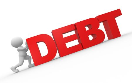 owe: 3d people - man, person and word &quot,debt&quot, Stock Photo