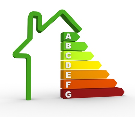 eficiencia energética: Eficiencia energética 3d gráfico. 3d render