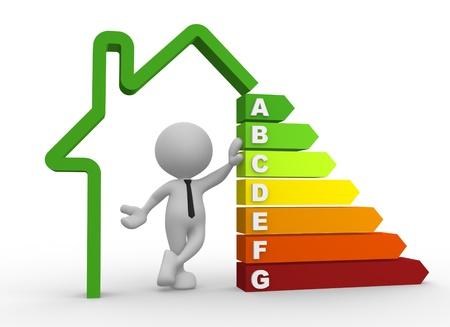 eficiencia: 3d gente - hombre, persona con la carta de la eficiencia energ�tica.