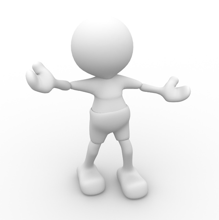 be happy: 3d people - man, person - welcome and be happy Stock Photo