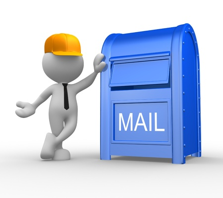 send mail: 3d people - man, person with a mailbox ( postbox letterbox). Postman Stock Photo