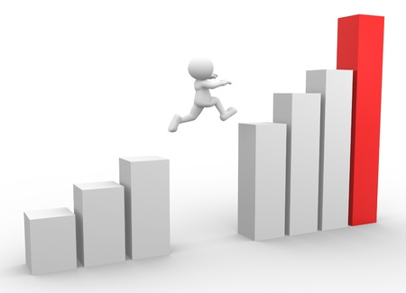 3d people - man, person jumping over graphic chart Stock Photo - 17148359
