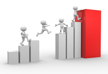 ascent: 3d people - men, person jumping over graphic chart Stock Photo