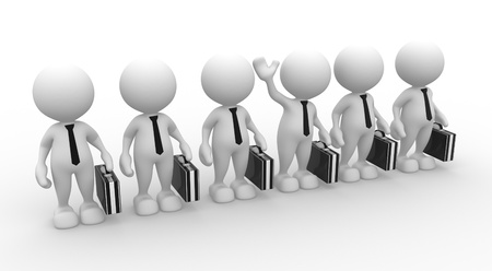 3d people - men, person in row. Leadership and team. Stock Photo