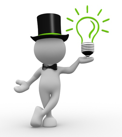 artistic woman: 3d people - man, person with a light bulb. Energy efficiency Stock Photo