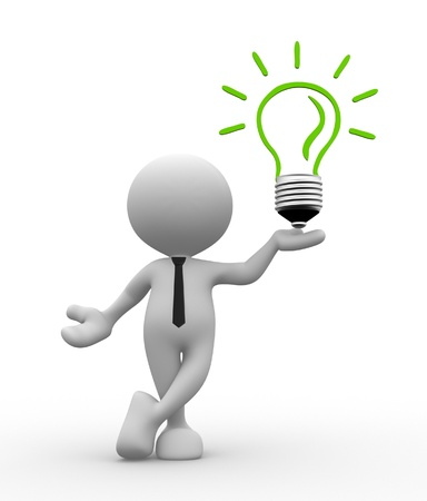 eficacia: 3d gente - hombre, persona con una bombilla de luz. Eficiencia energ�tica Foto de archivo
