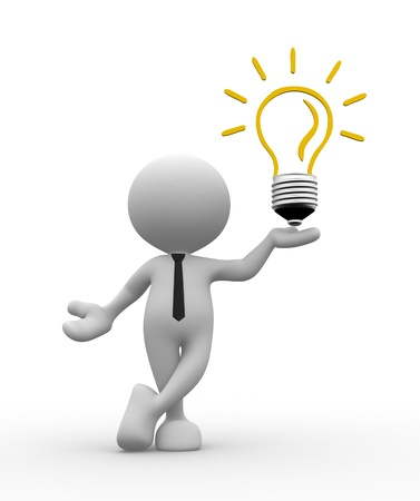 men ideas: 3d people - man, person with a light bulb. Energy efficiency Stock Photo