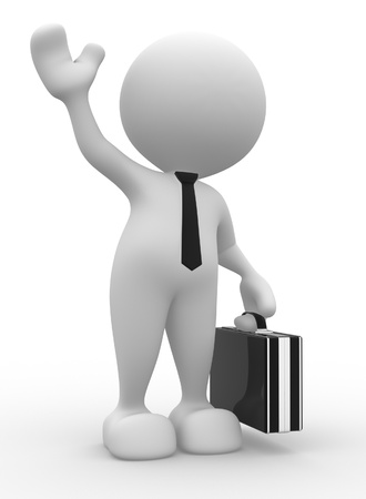 business meeting cartoon: 3d people - man, person with a briefcase. Businessman salute  Stock Photo