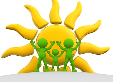 3d people - man, person with a sun. Concept of energy efficiency. 