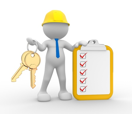 engineering clipboard: 3d people - man, person with a checklist and keys. Businessman. Builder