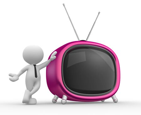 3d people - man, person with a old tv. photo