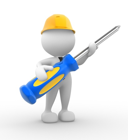 architect tools: 3d people - man, person with a screwdriver.  Stock Photo