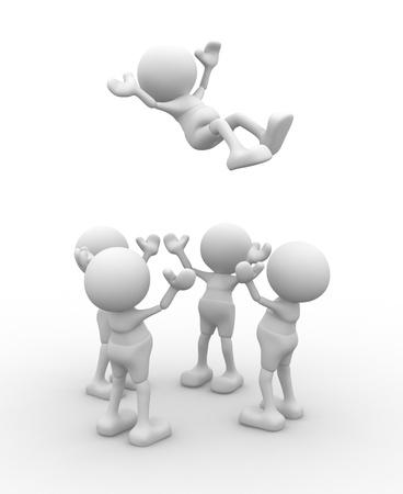 glädje: 3d människor - män, personer kastar upp