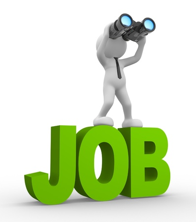 3d people - man, person with a binocular. Looking for job