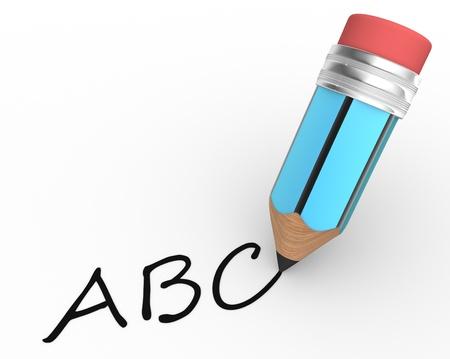cartoon pencil: A pencil and ABC. 3d render Stock Photo