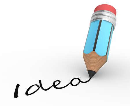 quot: A pencil and &quot, idea &quot, word. 3d render Stock Photo