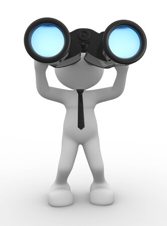 observation: 3d people - man, person with a big binocular. Vision
