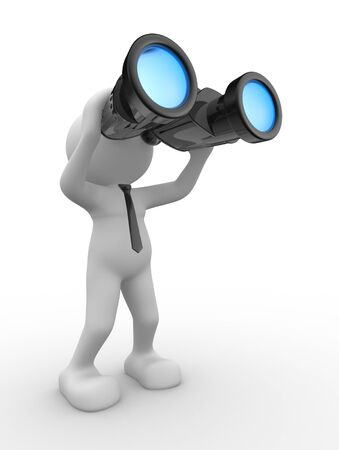 vision business: 3d people - man, person with a binocular. Vision