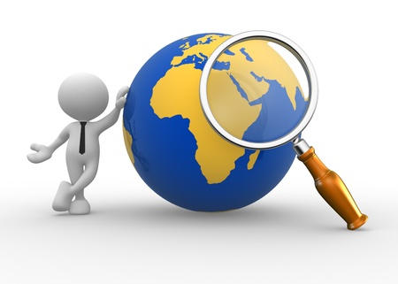 3d people - man, person with a magnifying and earth globe. photo