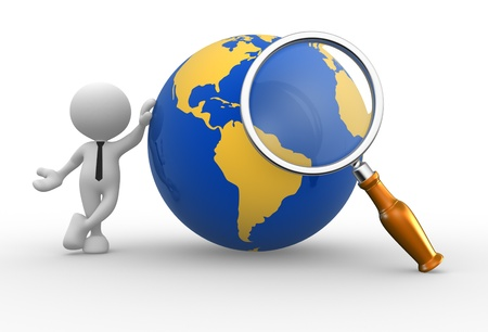 optical people person planet: 3d people - man, person with a magnifying and earth globe. Stock Photo