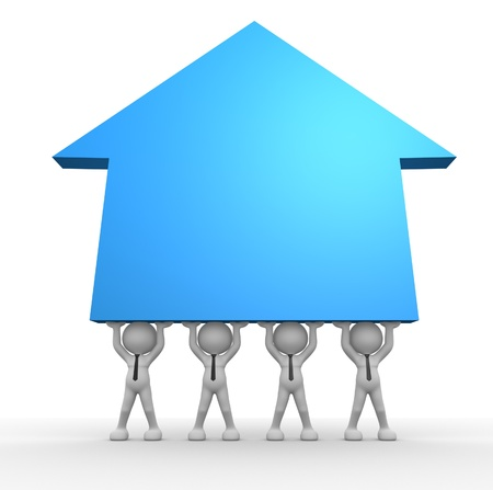 3d people - man, person with arrow growth up. Successful team Stock Photo - 17148422