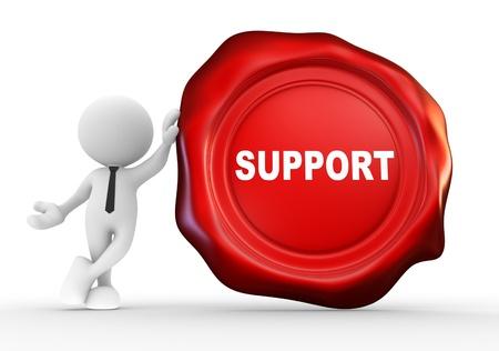 """validez: 3d gente - hombre, persona con sello de cera y la palabra """"apoyo"""". Confirmado"""