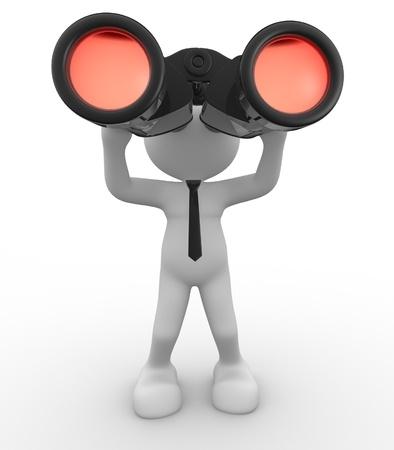binocular: 3d people - man, person with the field-glass in hands. Binocular