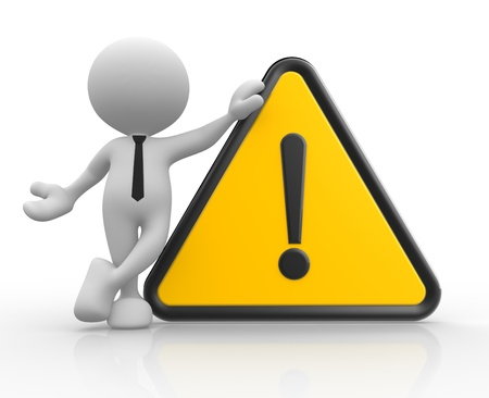 3d people - man, person with warning sign Stock Photo - 17148431