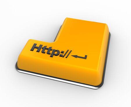 """tecla enter: Teclado 3d con un """"http:"""", botón. 3d render"""