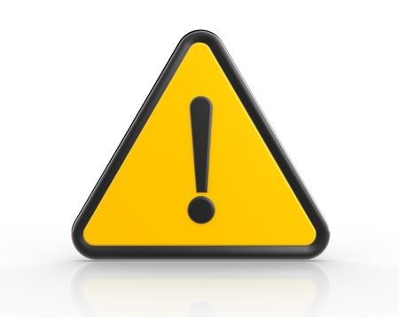 danger symbol: Danger warning sign. 3d render exclamation mark