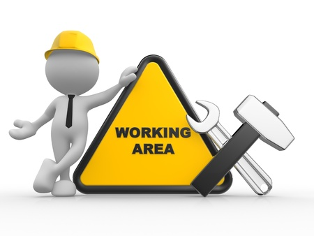 work area: 3d people - man, person with a wrench and a hammer. Warning area