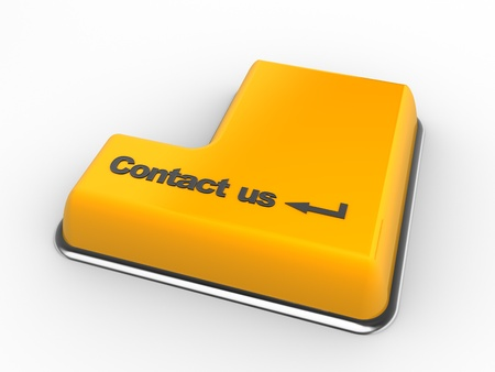 business contact: 3d keyboard with contact us button. 3d render