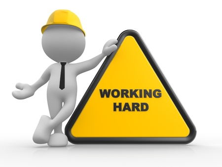 under construction sign with man: 3d people - man, person with a sign prohibit and text working area. Stock Photo