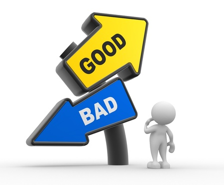 good or bad: 3d people - man, people standing in front of a road sign. Confusion - good or bad Stock Photo