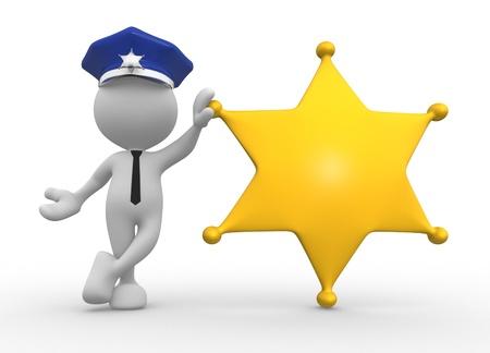 sheriff badge: 3d gente - hombre, personas con una insignia de sheriff. Polic�a