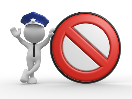 3d people - man, people with a stop sign. Policeman photo