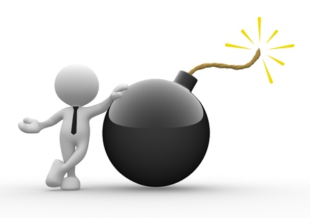 risks icon: 3d people - man, person with a bomb. Stock Photo