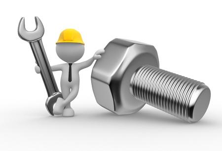 3d Menschen - ein Mann, Person mit einem Schraubenschlüssel und eine Schraube