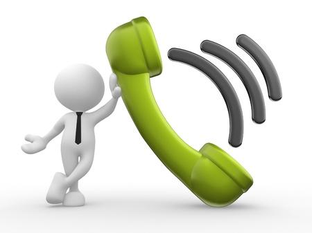 telefono caricatura: 3d gente - hombre, persona con un receptor de teléfono