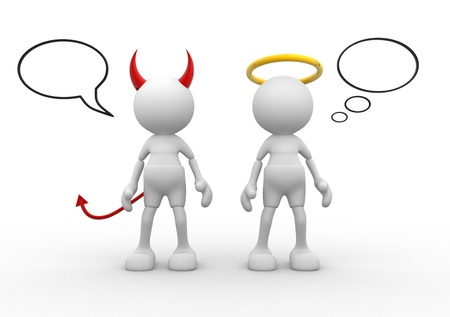 angel and devil: Angel and devil - saint evil god bad. 3d people - man, person.