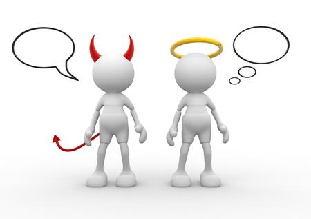 teufel und engel: Engel und Teufel - saint bösen Gott schlecht. 3d Menschen - ein Mann, Person. Lizenzfreie Bilder