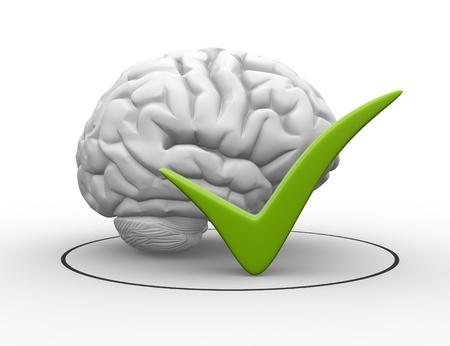 3d Gehirn und ein Zeichen zu überprüfen. Genehmigt. 3d render