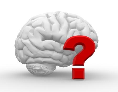 3d Gehirn und ein Fragezeichen. Fragen. 3d render